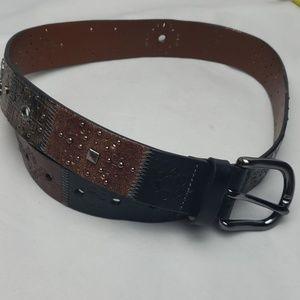 Fossil brown black silver copper belt, sz S